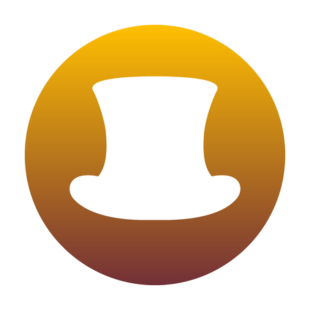 Top hat sign. White icon in circle with golden gradient as background. Isolated. Illustration