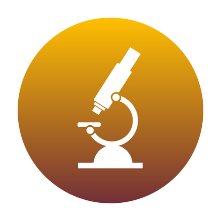 medical instrument: Chemistry microscope sign for laboratory. White icon in circle with golden gradient as background. Isolated.