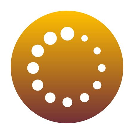 Circular loading sign. White icon in circle with golden gradient as background. Isolated.