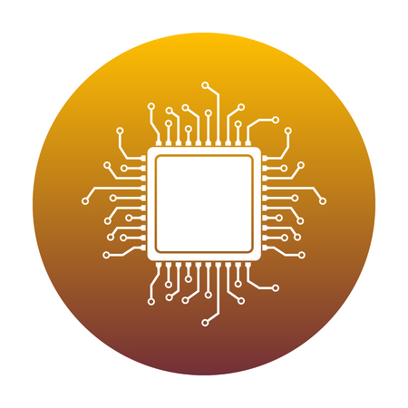 gpu: CPU Microprocessor illustration. White icon in circle with golden gradient as background. Isolated.