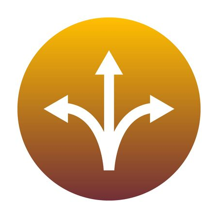Three-way direction arrow sign. White icon in circle with golden gradient as background. Isolated.