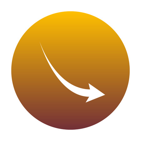 Declining arrow sign. White icon in circle with golden gradient as background. Isolated.