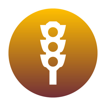 stop and go light: Traffic light sign. White icon in circle with golden gradient as background. Isolated. Illustration