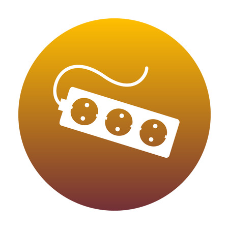 amp: Electric extension plug sign. White icon in circle with golden gradient as background. Isolated. Illustration
