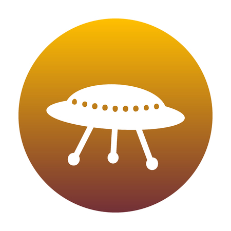 UFO simple sign. White icon in circle with golden gradient as background. Isolated.