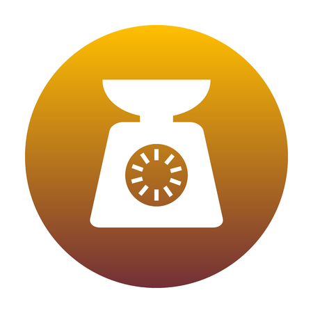 ounce: Kitchen scales sign. White icon in circle with golden gradient as background. Isolated.