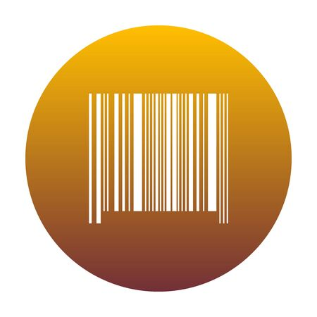Bar code sign. White icon in circle with golden gradient as background. Isolated.