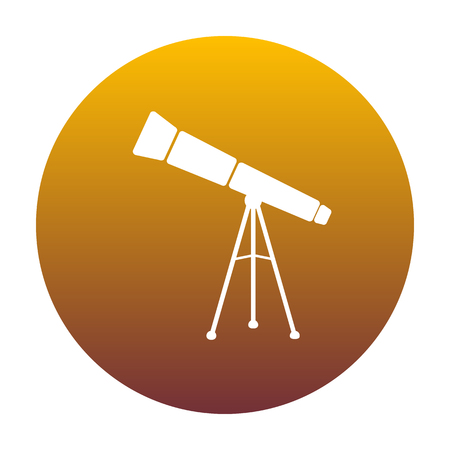 Telescope simple sign. White icon in circle with golden gradient as background. Isolated.