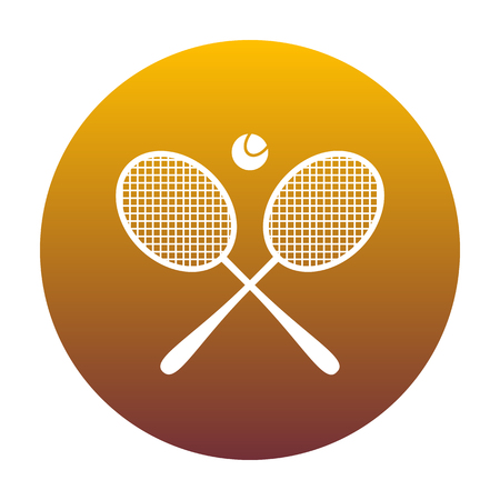 Tennis racket sign. White icon in circle with golden gradient as background. Isolated. Illustration