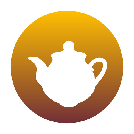 Tea maker Kitchen sign. White icon in circle with golden gradient as background. Isolated.