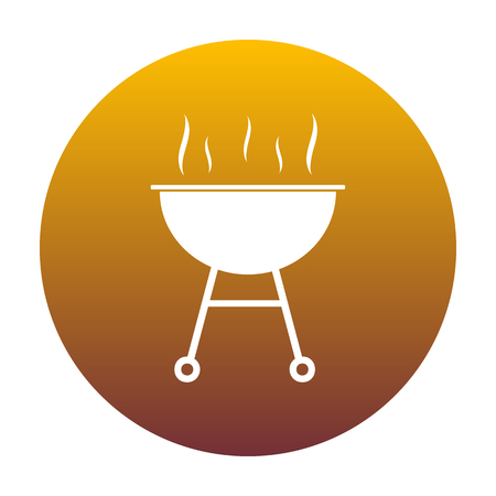 Barbecue simple sign. White icon in circle with golden gradient as background. Isolated.