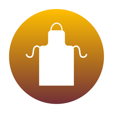 Apron simple sign. White icon in circle with golden gradient as background. Isolated.