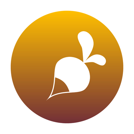 vegatables: Radish simple sign. White icon in circle with golden gradient as background. Isolated.