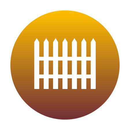 Fence simple sign. White icon in circle with golden gradient as background. Isolated.