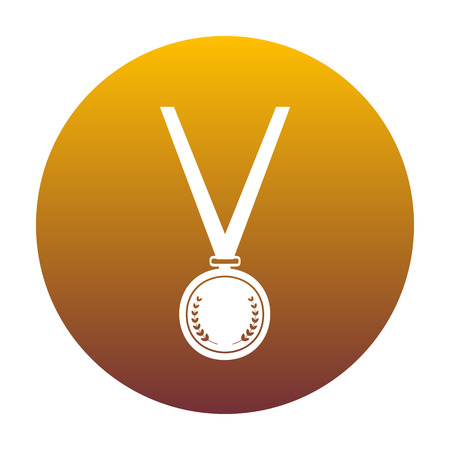 Medal simple sign. White icon in circle with golden gradient as background. Isolated.