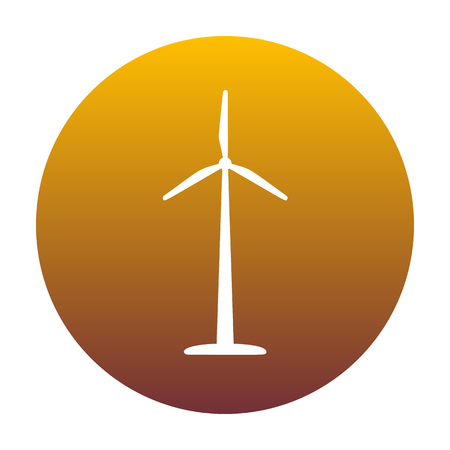 Wind turbine logo or sign. White icon in circle with golden gradient as background. Isolated. Illustration