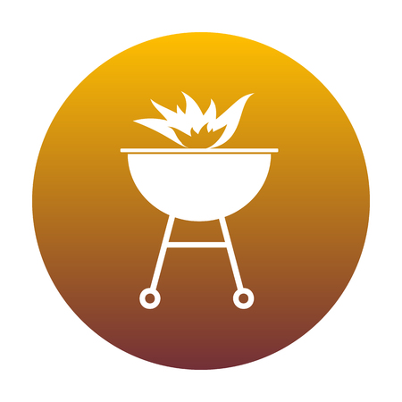 Barbecue with fire sign. White icon in circle with golden gradient as background. Isolated.
