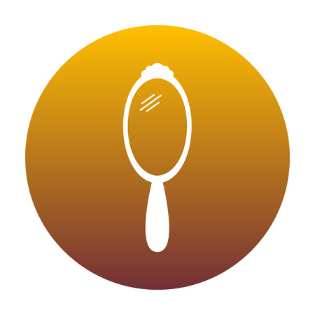 look in mirror: Hand Mirror sign. White icon in circle with golden gradient as background. Isolated. Illustration