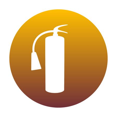 Fire extinguisher sign. White icon in circle with golden gradient as background. Isolated. Illustration