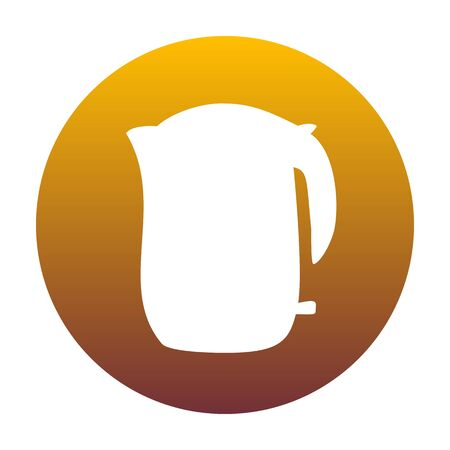 Electric kettle sign. White icon in circle with golden gradient as background. Isolated.