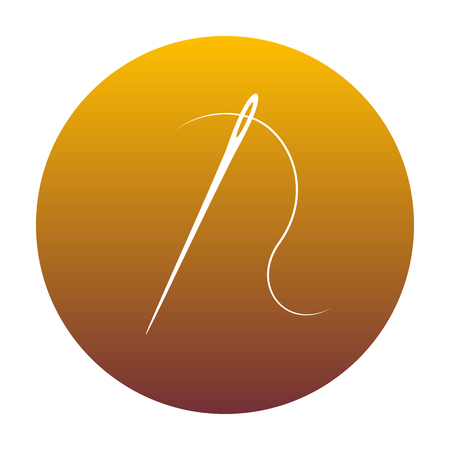 Needle with thread. Sewing needle, needle for sewing. White icon in circle with golden gradient as background. Isolated. Illustration