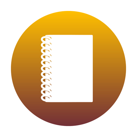 Notebook simple sign. White icon in circle with golden gradient as background. Isolated.