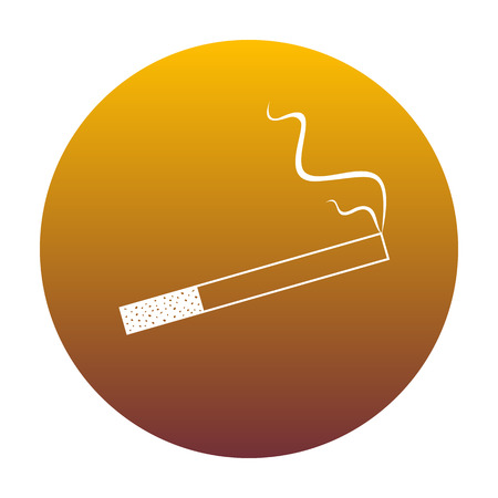Smoke icon great for any use. White icon in circle with golden gradient as background. Isolated.