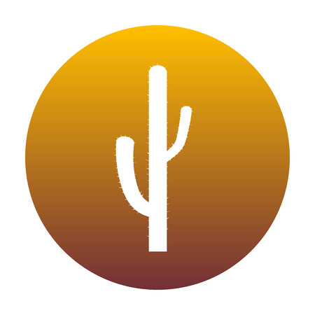 Cactus simple sign. White icon in circle with golden gradient as background. Isolated. Illustration