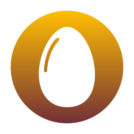 Chiken egg sign. White icon in circle with golden gradient as background. Isolated. Illustration