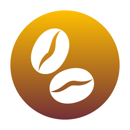 Coffee beans sign. White icon in circle with golden gradient as background. Isolated. Ilustração