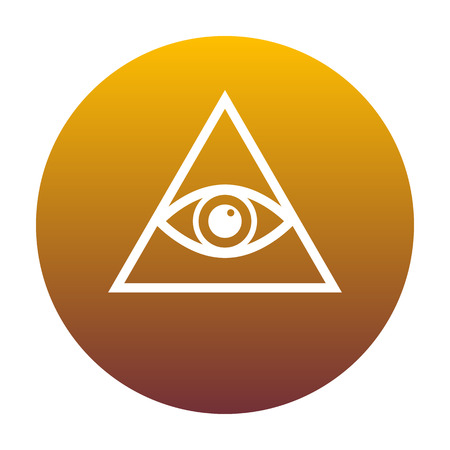 All seeing eye pyramid symbol. Freemason and spiritual. White icon in circle with golden gradient as background. Isolated.