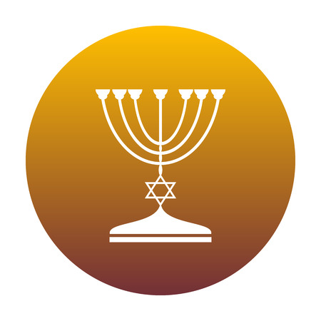 Jewish Menorah candlestick in black silhouette. White icon in circle with golden gradient as background. Isolated. Illustration