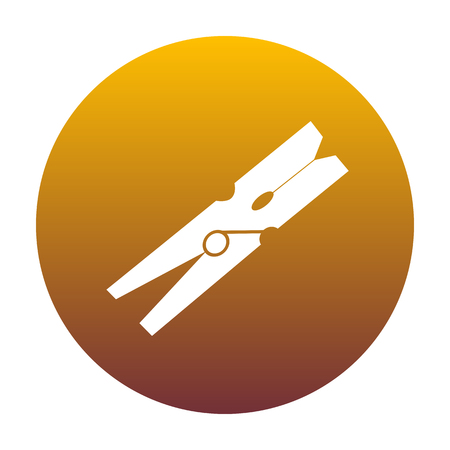 Clothes peg sign. White icon in circle with golden gradient as background. Isolated.