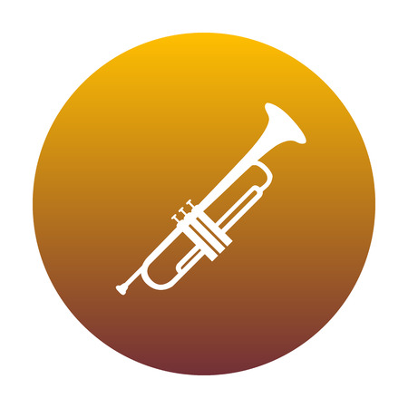 Musical instrument Trumpet sign. White icon in circle with golden gradient as background. Isolated.