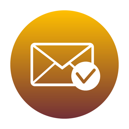 Mail sign illustration with allow mark. White icon in circle with golden gradient as background. Isolated.