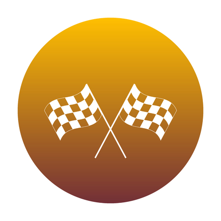 Crossed checkered flags logo waving in the wind conceptual of motor sport. White icon in circle with golden gradient as background. Isolated.