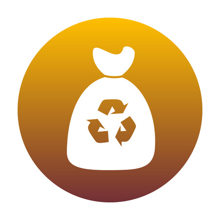 Trash bag icon. White icon in circle with golden gradient as background. Isolated.