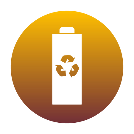 Battery recycle sign illustration. White icon in circle with golden gradient as background. Isolated.