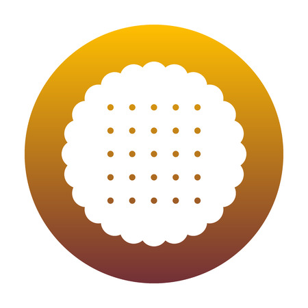 scone: Pyramid sign illustration. White icon in circle with golden gradient as background. Isolated.
