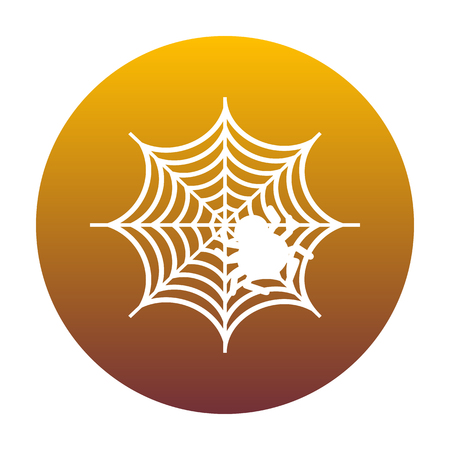 Spider on web illustration White icon in circle with golden gradient as background. Isolated.