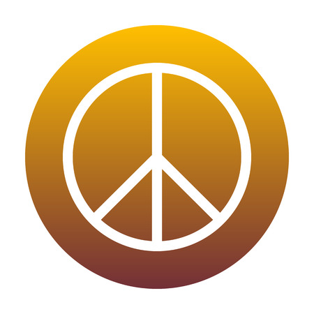 Illustrazione del segno di pace Icona bianca in cerchio con sfumatura dorata come sfondo. Isolato.