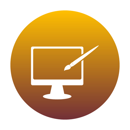 Monitor with brush sign. White icon in circle with golden gradient as background. Isolated.