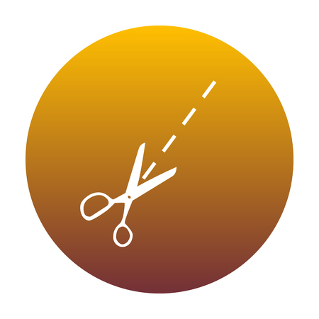 Scissors sign illustration. White icon in circle with golden gradient as background. Isolated.