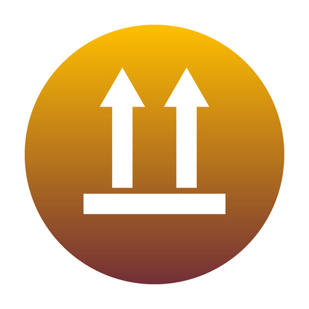 Logistic sign of arrows. White icon in circle with golden gradient as background. Isolated. Illustration