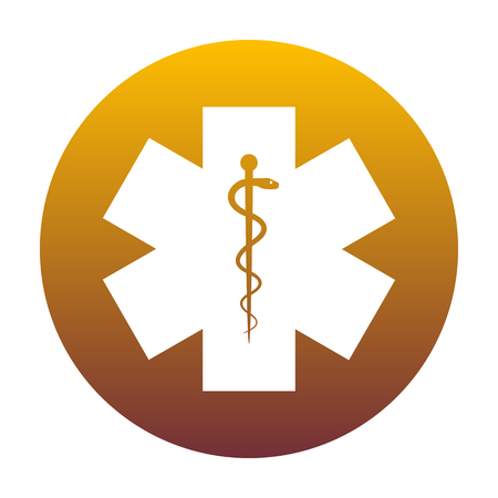 Medical symbol of the Emergency or Star of Life. White icon in circle with golden gradient as background. Isolated. Illustration