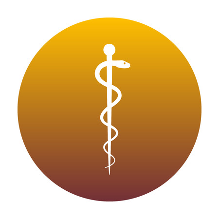 Symbol of the Medicine. White icon in circle with golden gradient as background. Isolated.
