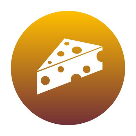 cheez: Cheese Maasdam sign. White icon in circle with golden gradient as background. Isolated. Illustration
