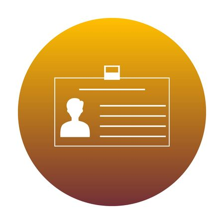 convention: Identification card sign. White icon in circle with golden gradient as background. Isolated. Illustration