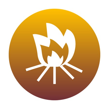 Fire sign. White icon in circle with golden gradient as background. Isolated.