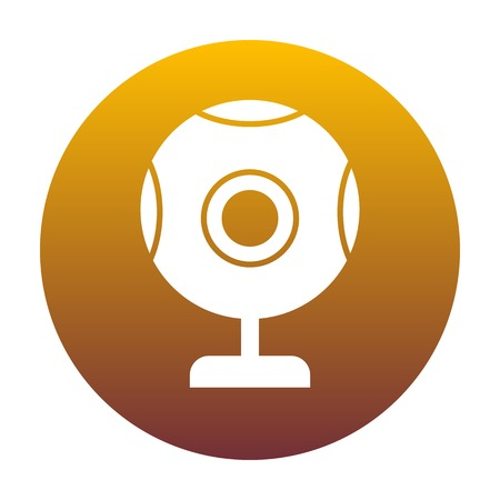acquaintance: Chat web camera sign. White icon in circle with golden gradient as background. Isolated.